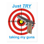 Try to take my guns postcard