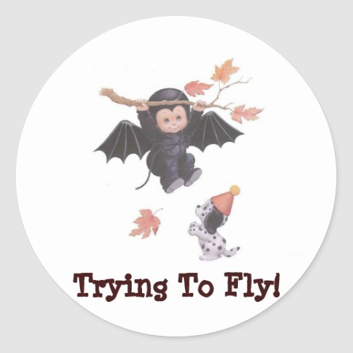 Trying To Fly! - Halloween Collector Sticker Round Sticker