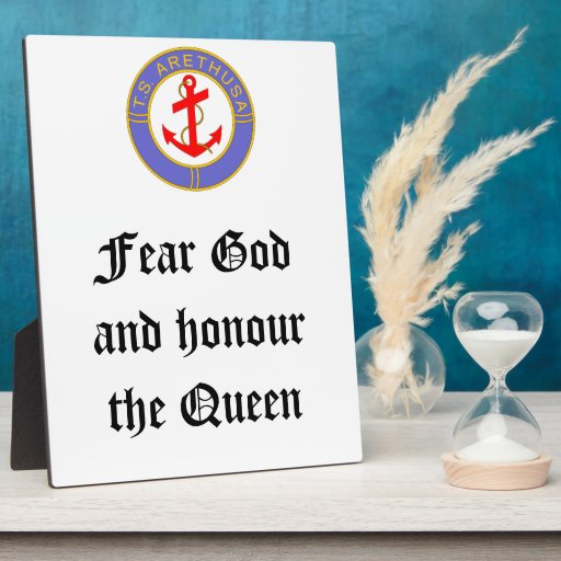 Ts arethusa badge and motto photo plaques zazzle for Ts arethusa pictures