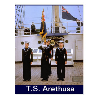 TS Arethusa,Colour Party Postcard