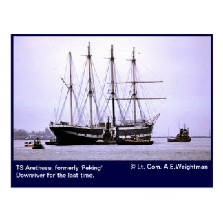 TS Arethusa, Downriver for the last time Postcard