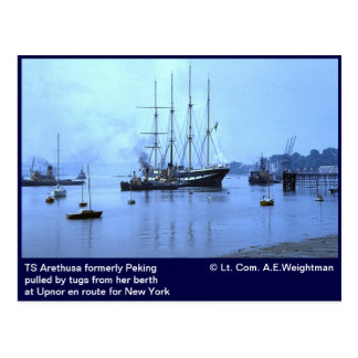 TS Arethusa formerly Peking, at Upnor Postcard