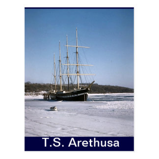 TS Arethusa,in the Medway ice Postcard