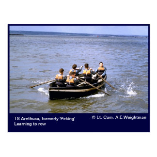 TS Arethusa,learning to row Postcard