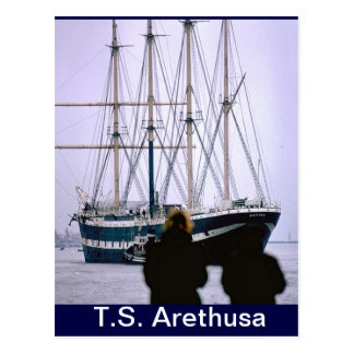 TS Arethusa,Leaving for New York Postcard