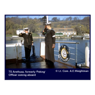 TS Arethusa,officer coming aboard Postcard