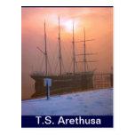TS Arethusa, puesta del sol y nieve Postales