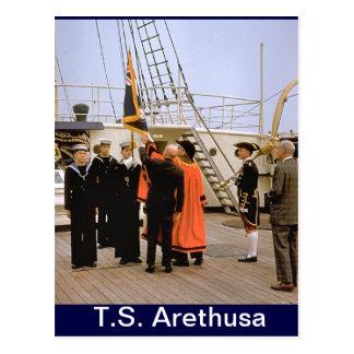TS Arethusa, visita del señor alcalde de Londres Tarjeta Postal