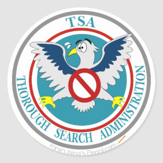 TSA Funny Logo with Cartoon Eagle Classic Round Sticker