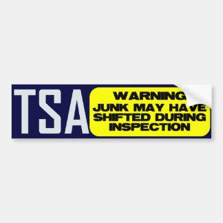TSA: LOS DESPERDICIOS PUDIERON HABER DESPLAZADO PEGATINA PARA AUTO