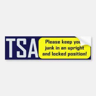 TSA: Mantenga sus desperdicios verticales Pegatina Para Auto