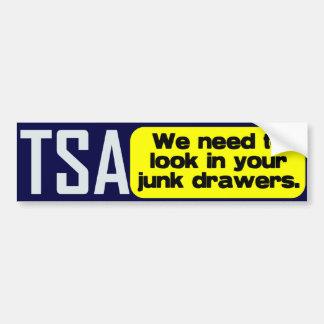 TSA: Mire en sus cajones de los desperdicios Pegatina Para Auto