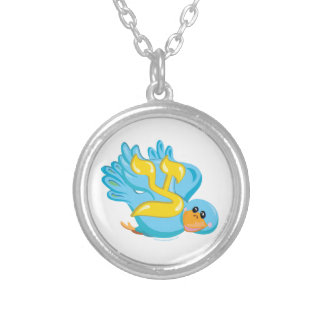 Tsadik the Bird, Hebrew Aleph Bet (Alphabet) Silver Plated Necklace