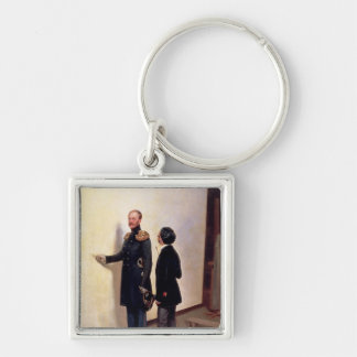 Tsar and Artist Silver-Colored Square Keychain