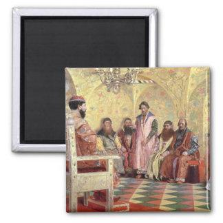 Tsar Mikhail Fyodorovich  with Boyars 2 Inch Square Magnet