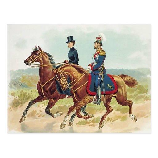 TSAR & TSARINA Russia on horse sidesaddle #058SS Postcard