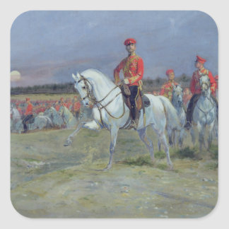 Tsarevich Nicolas  Reviewing the Troops, 1899 Square Sticker