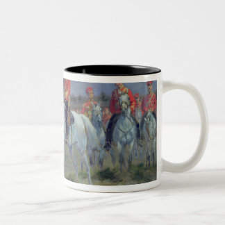 Tsarevich Nicolas  Reviewing the Troops, 1899 Two-Tone Coffee Mug