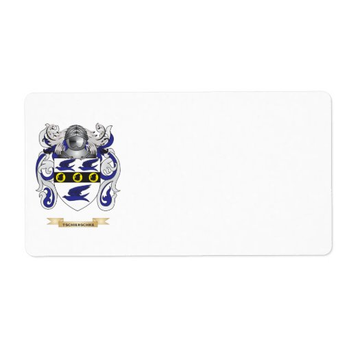 Tschierschke Family Crest (Coat of Arms) Personalized Shipping Labels