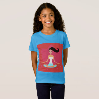 Tshirt blue with yoga girl