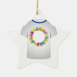 tshirt graphic- colorful hands ceramic ornament