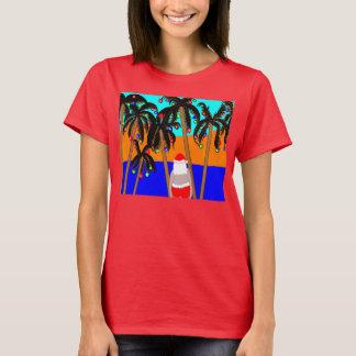 tshirt palm trees santa in bathing trunks Christma