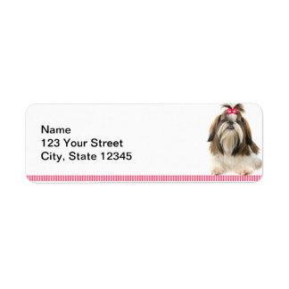 Tsu de Shih con el arco rosado en la frontera rosa Etiqueta De Remite