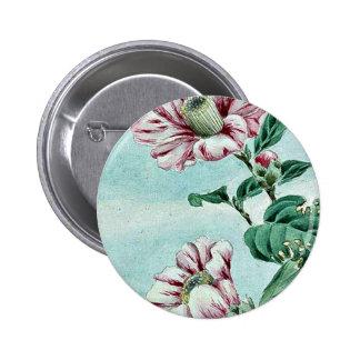 Tsubaki camelia ie, camellia / Megata Ukiyo-e. Pinback Button