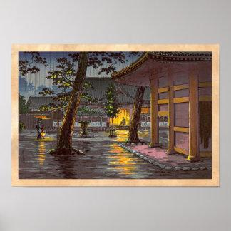 Tsuchiya Koitsu bosqueja el templo de Takanawa Sen Impresiones
