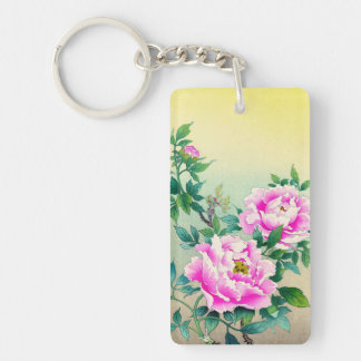 Tsuchiya Koitsu Peonies japanese flowers fine art Double-Sided Rectangular Acrylic Keychain