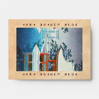 Tsuchiya Koitsu Snowy Miyajima winter scenery art Envelope