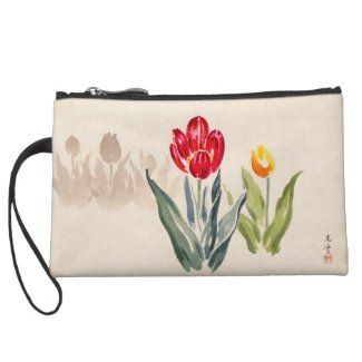 Tsuchiya Koitsu Tulips japanese vintage watercolor Wristlets