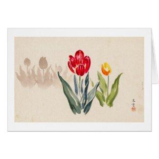 Tsuchiya Koitsu Tulips japanese vintage watercolor Card