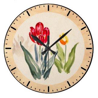 Tsuchiya Koitsu Tulips japanese vintage watercolor Wall Clocks