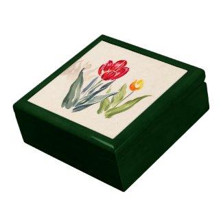 Tsuchiya Koitsu Tulips japanese vintage watercolor Jewelry Boxes