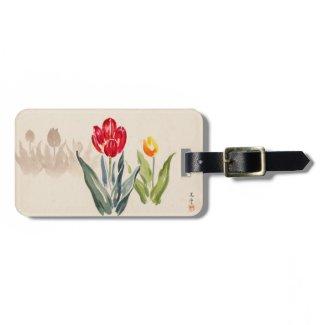 Tsuchiya Koitsu Tulips japanese vintage watercolor Tags For Bags