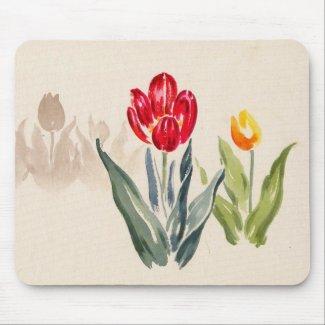 Tsuchiya Koitsu Tulips japanese vintage watercolor Mouse Pads