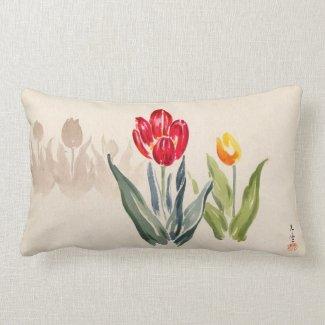 Tsuchiya Koitsu Tulips japanese vintage watercolor Pillows