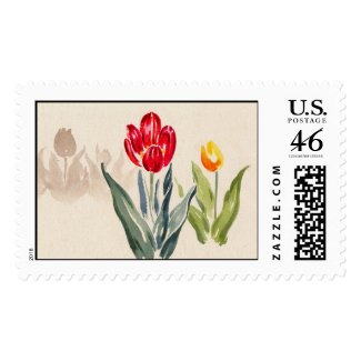 Tsuchiya Koitsu Tulips japanese vintage watercolor Postage Stamps
