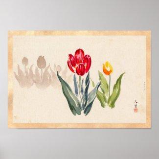 Tsuchiya Koitsu Tulips japanese vintage watercolor Print