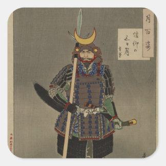 Tsuki hyakushi - Akiyama Buemon (1886) Samarai Square Sticker