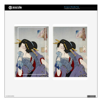Tsukioka Yoshitoshi 月岡 芳年 - Looking in Pain Decals For Kindle Fire