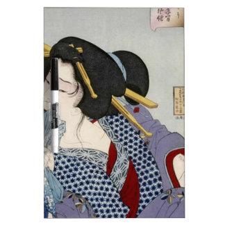 Tsukioka Yoshitoshi (月岡 芳年) - Looking in Pain Dry Erase Board