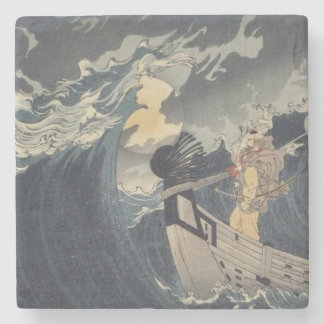 Tsukioka Yoshitoshi - Benkei Against A Full Moon Stone Coaster