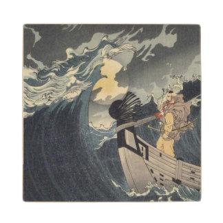 Tsukioka Yoshitoshi - Benkei Against A Full Moon Wooden Coaster
