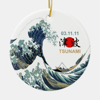 Tsunami 2011 de Japón Adorno Navideño Redondo De Cerámica