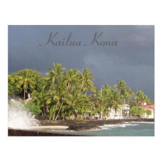 Tsunami del malecón de Kona antes de 2011 Tarjeta Postal
