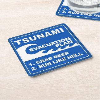 Tsunami Evacuation Plan Square Paper Coaster