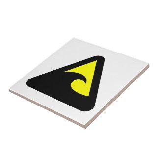 Tsunami Hazard Sign Ceramic Tile