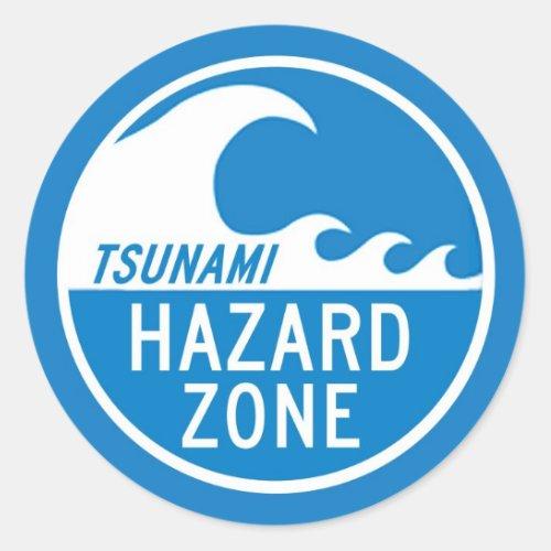TSUNAMI HAZARD ZONE CLASSIC ROUND STICKER